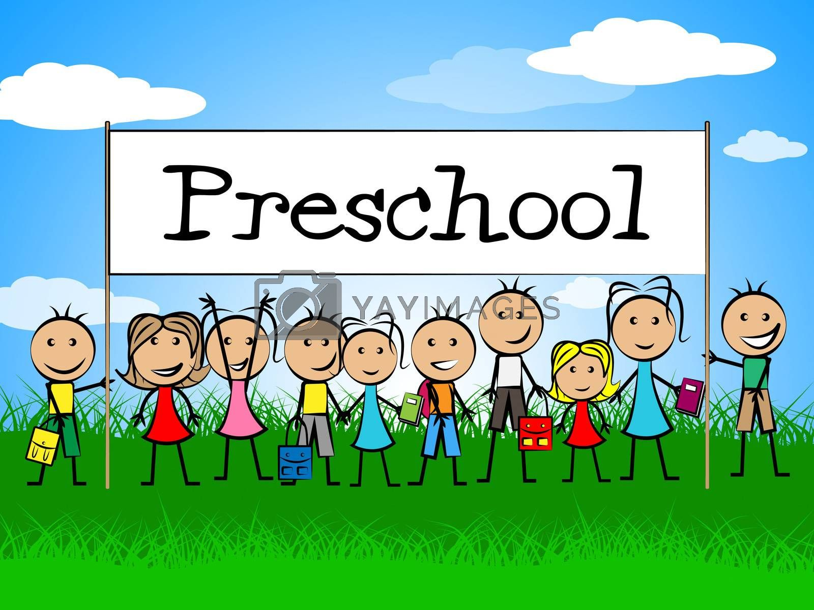 Preschool Kids Banner Represents Day Care And Child by stuartmiles