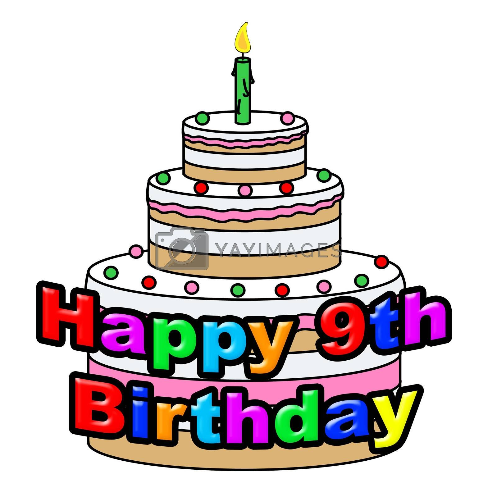 Happy Nineth Birthday Shows Celebrating Ninth And Celebration by stuartmiles