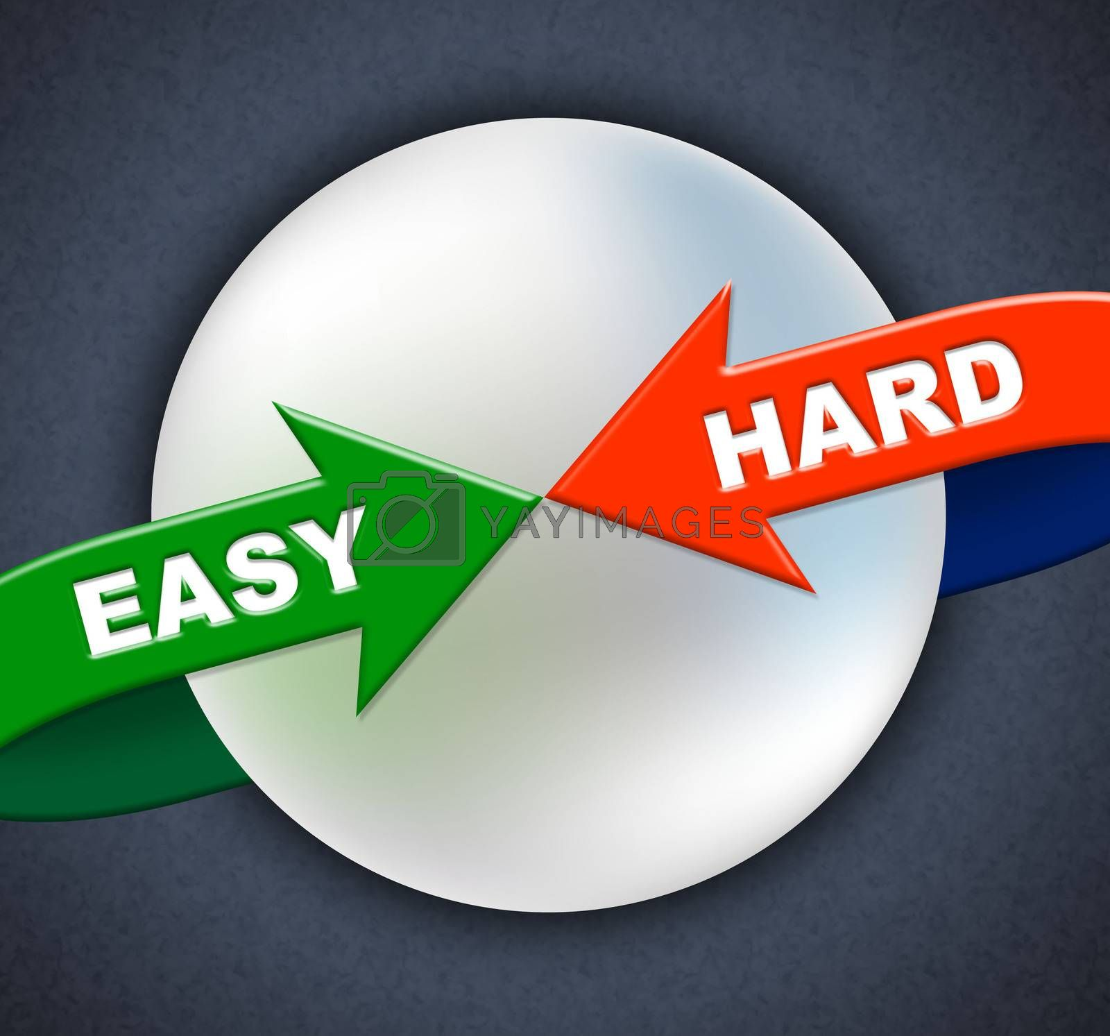 Easy Hard Arrows Shows Difficult Situation And Ease by stuartmiles