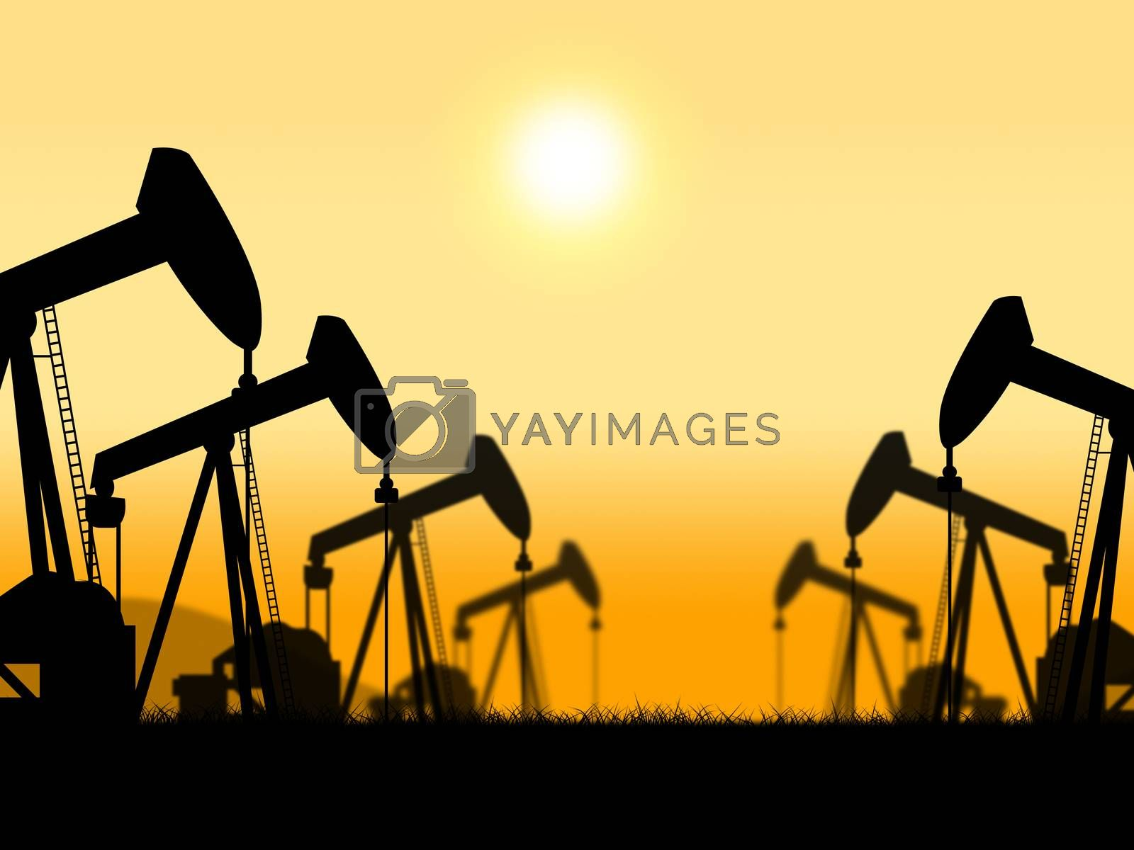 Oil Wells Represents Extract Refineries And Oilfield by stuartmiles