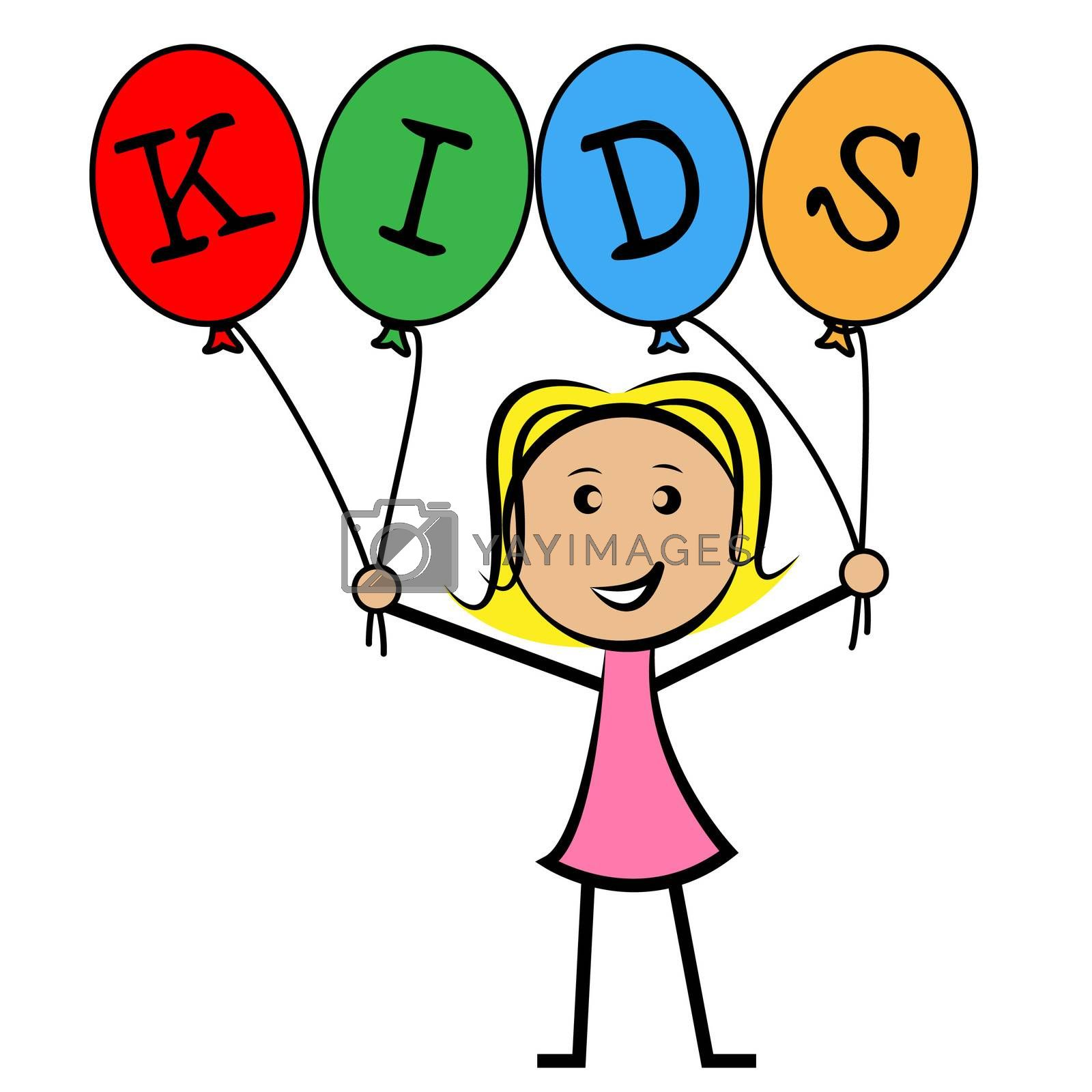 Kids Balloons Means Young Woman And Youngsters by stuartmiles