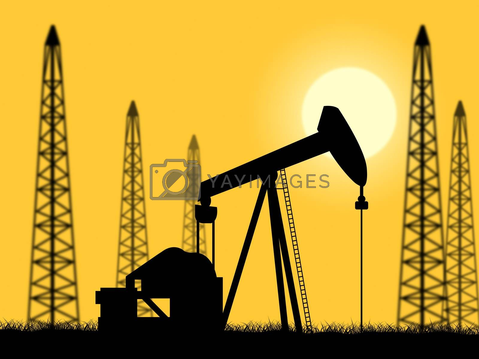 Oil Wells Represents Power Source And Drilling by stuartmiles