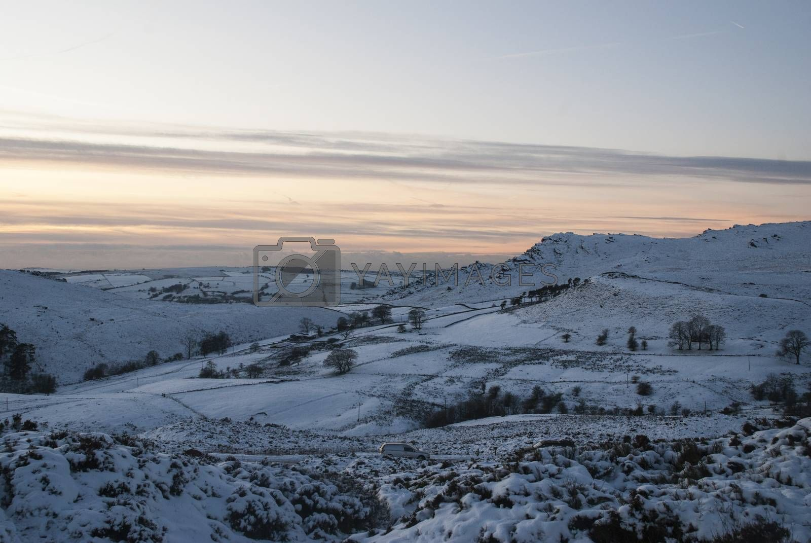 Snow on moorlands by Anna07