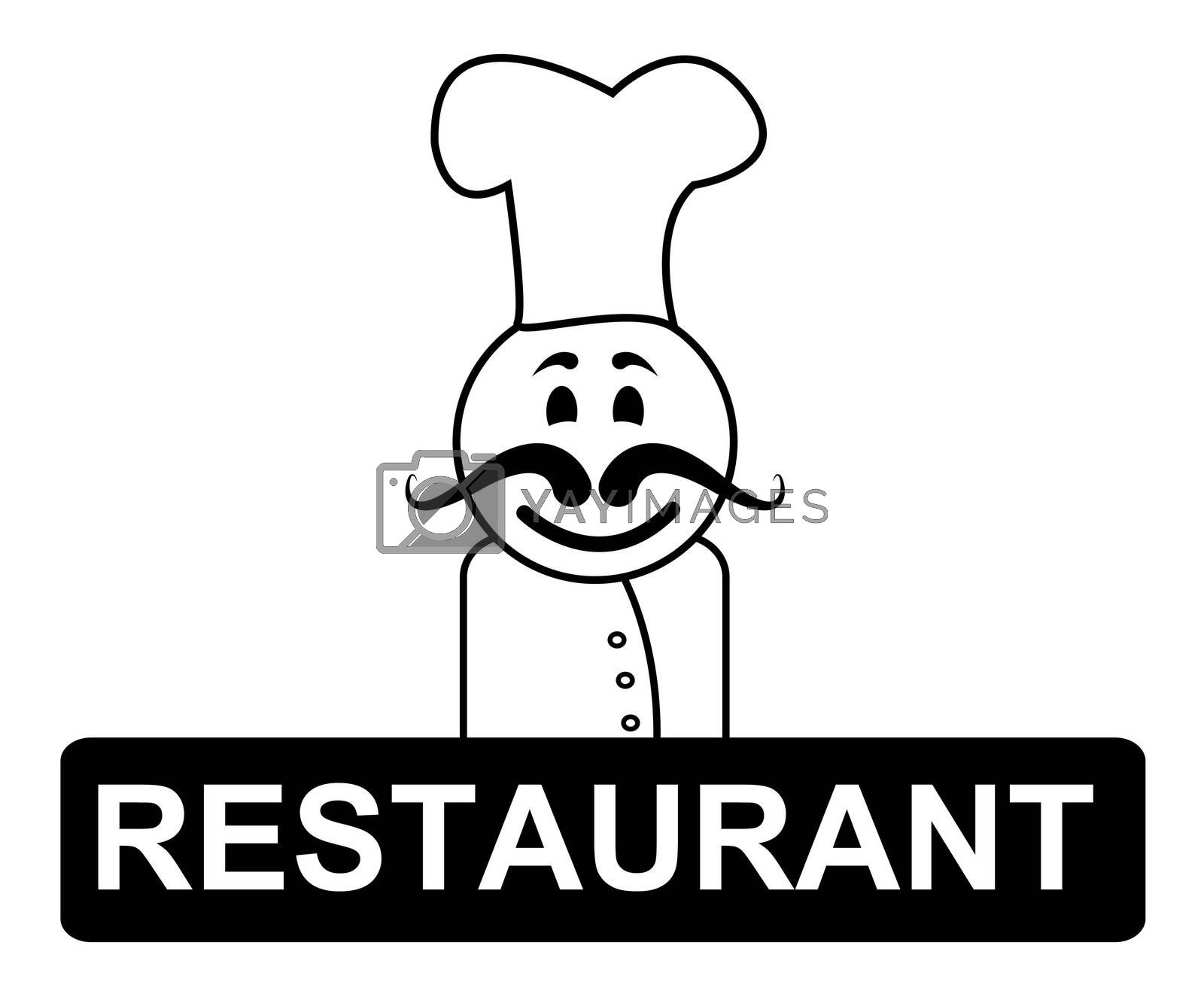 Restaurant Chef Indicates Cooking In Kitchen And Chefs by stuartmiles
