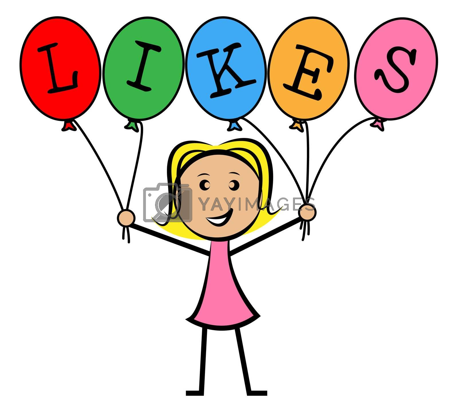Likes Balloons Indicates Social Media And Kids by stuartmiles