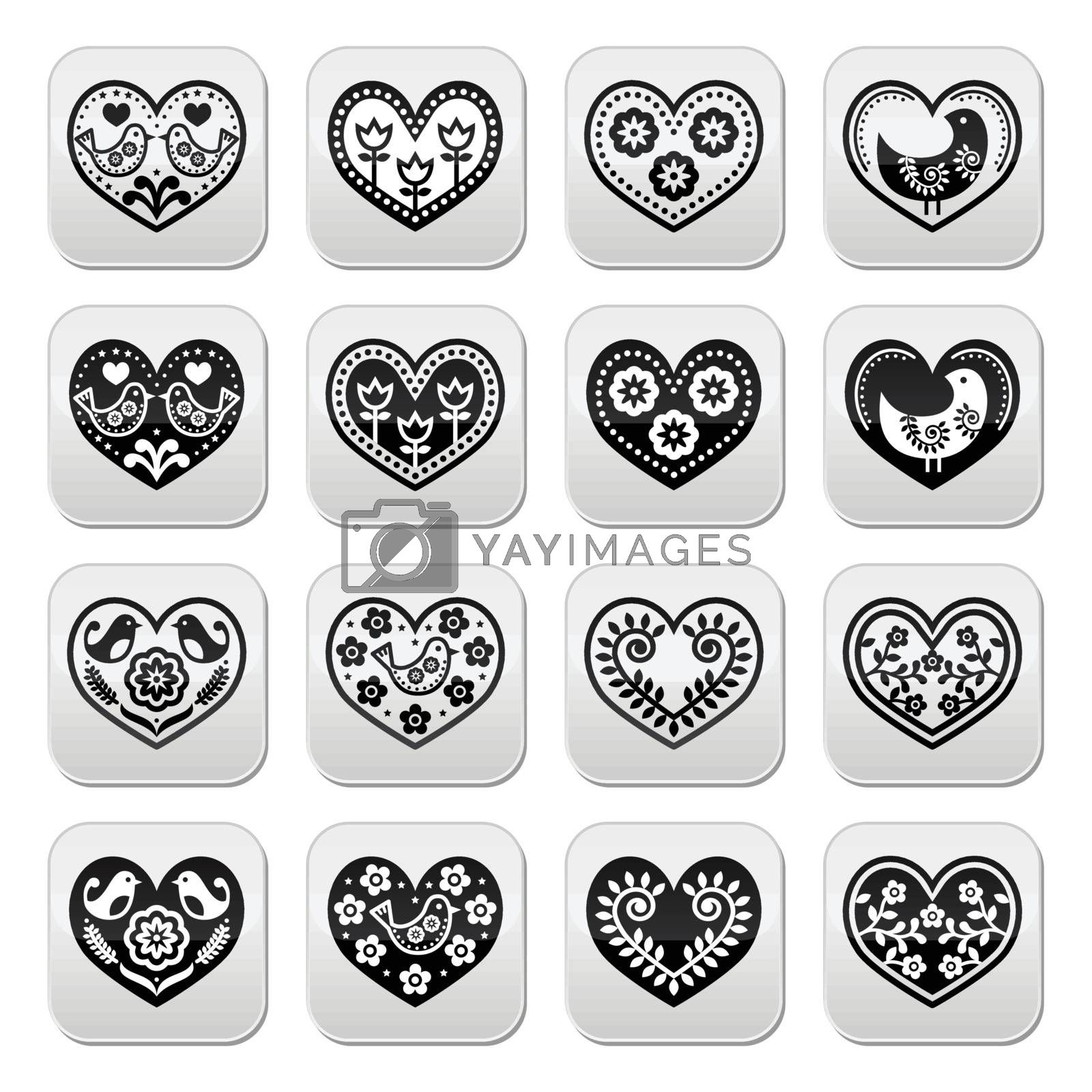 Folk hearts with flowers and birds buttons set by RedKoala