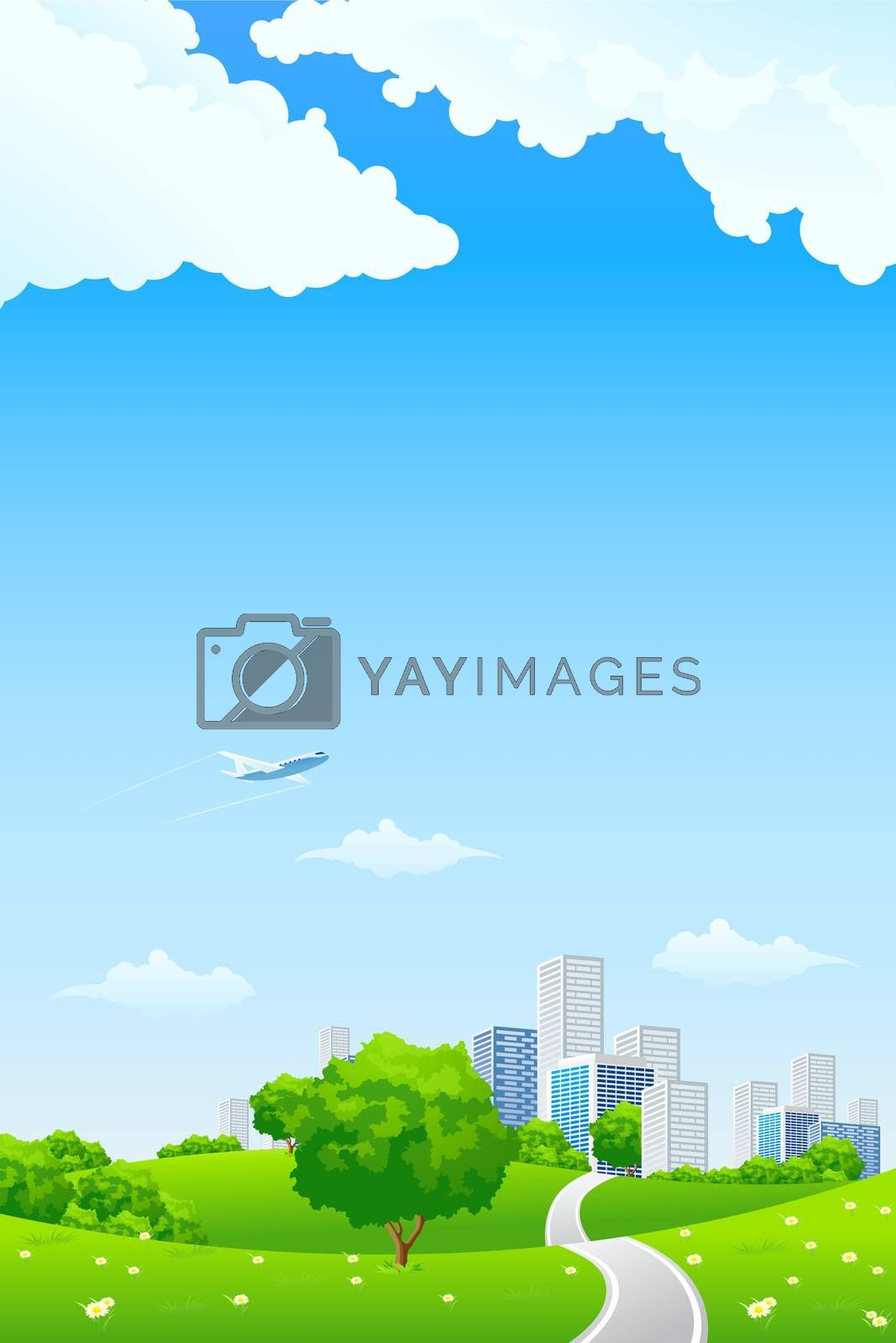 Green landscape with city by WaD