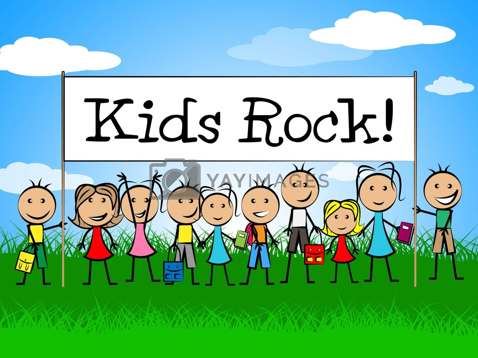 Kids Rock Banner Shows Free Time And Child by stuartmiles