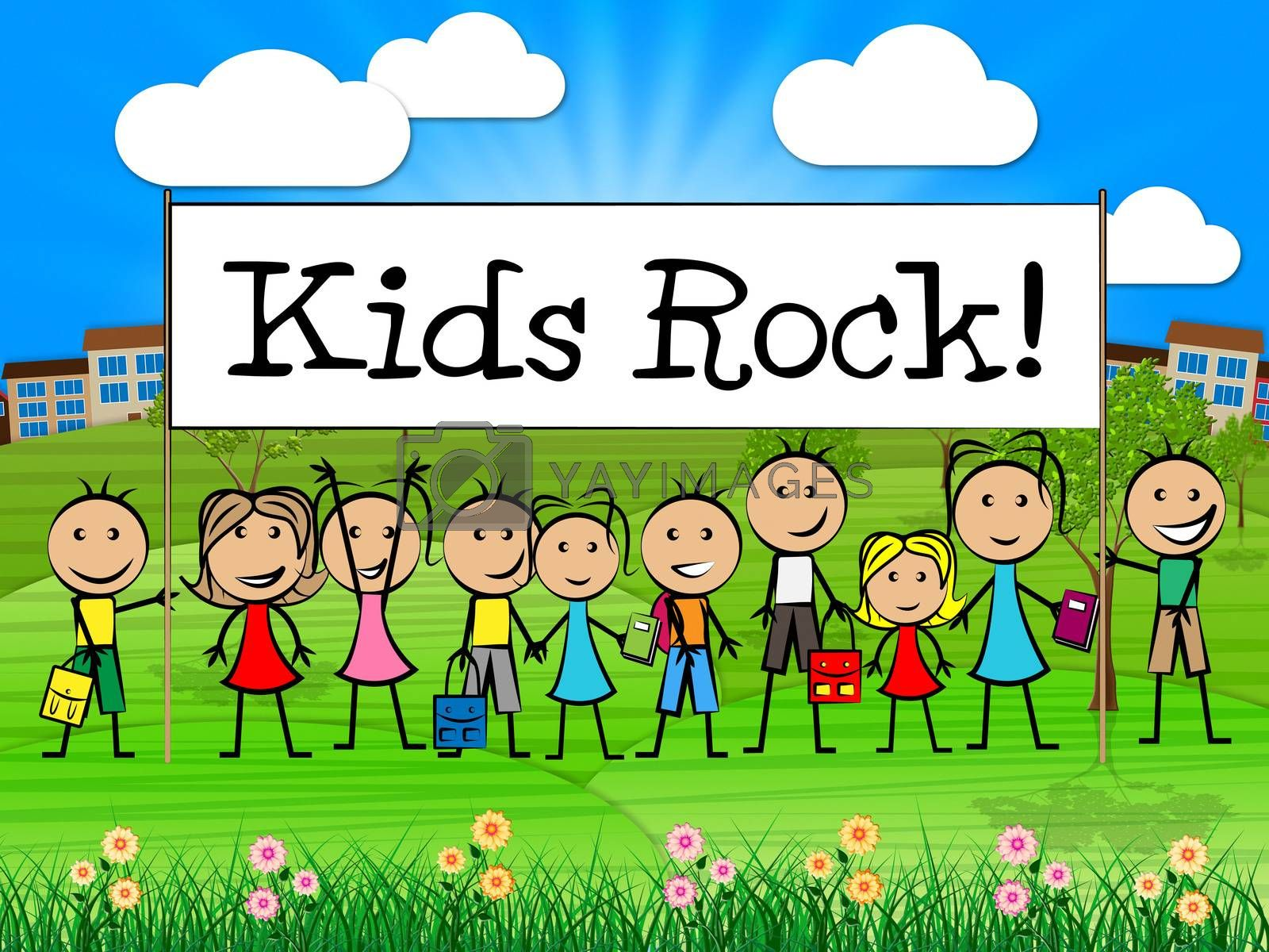 Kids Rock Banner Indicates Free Time And Child by stuartmiles