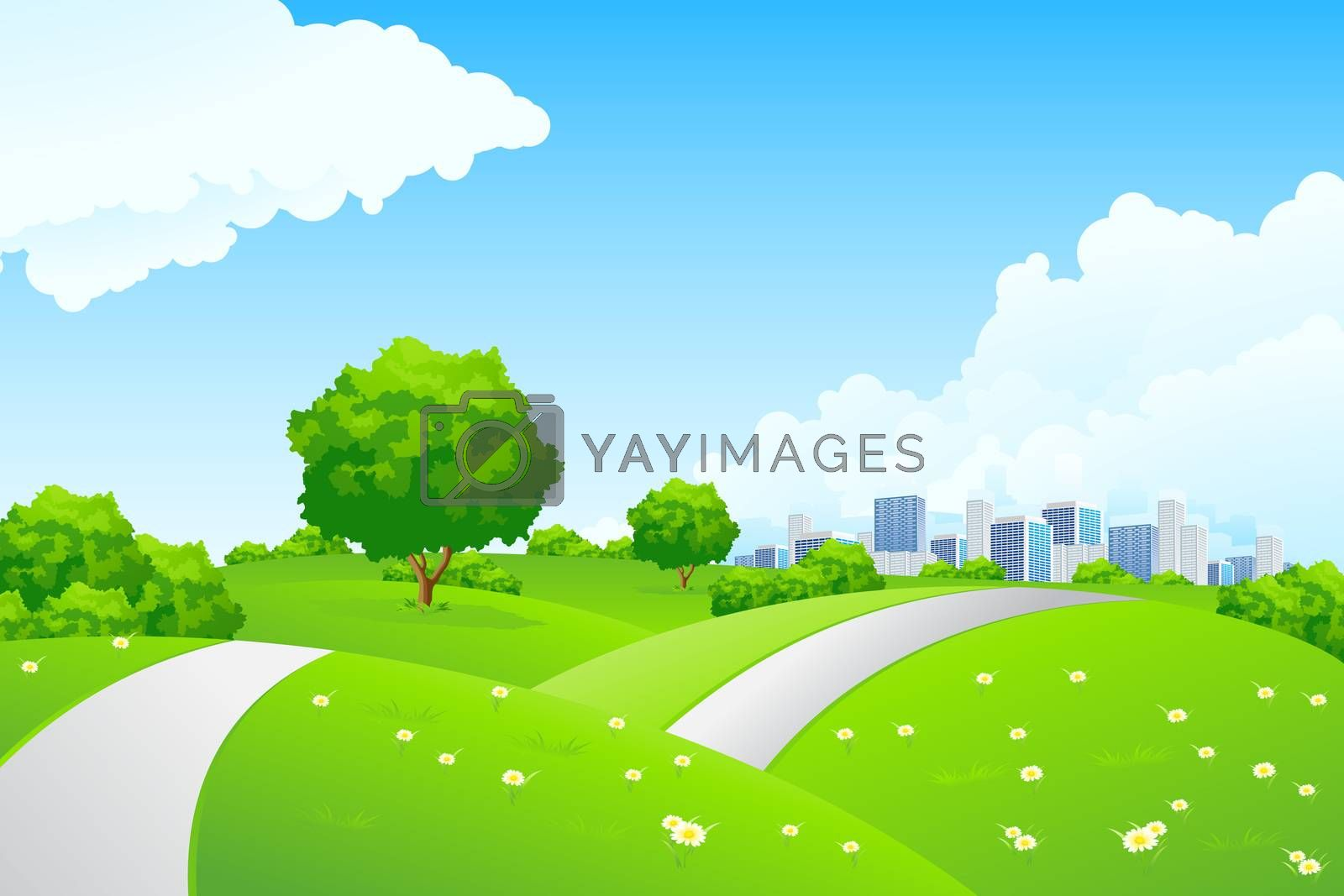 Landscape - green hills with tree and cityscape by WaD