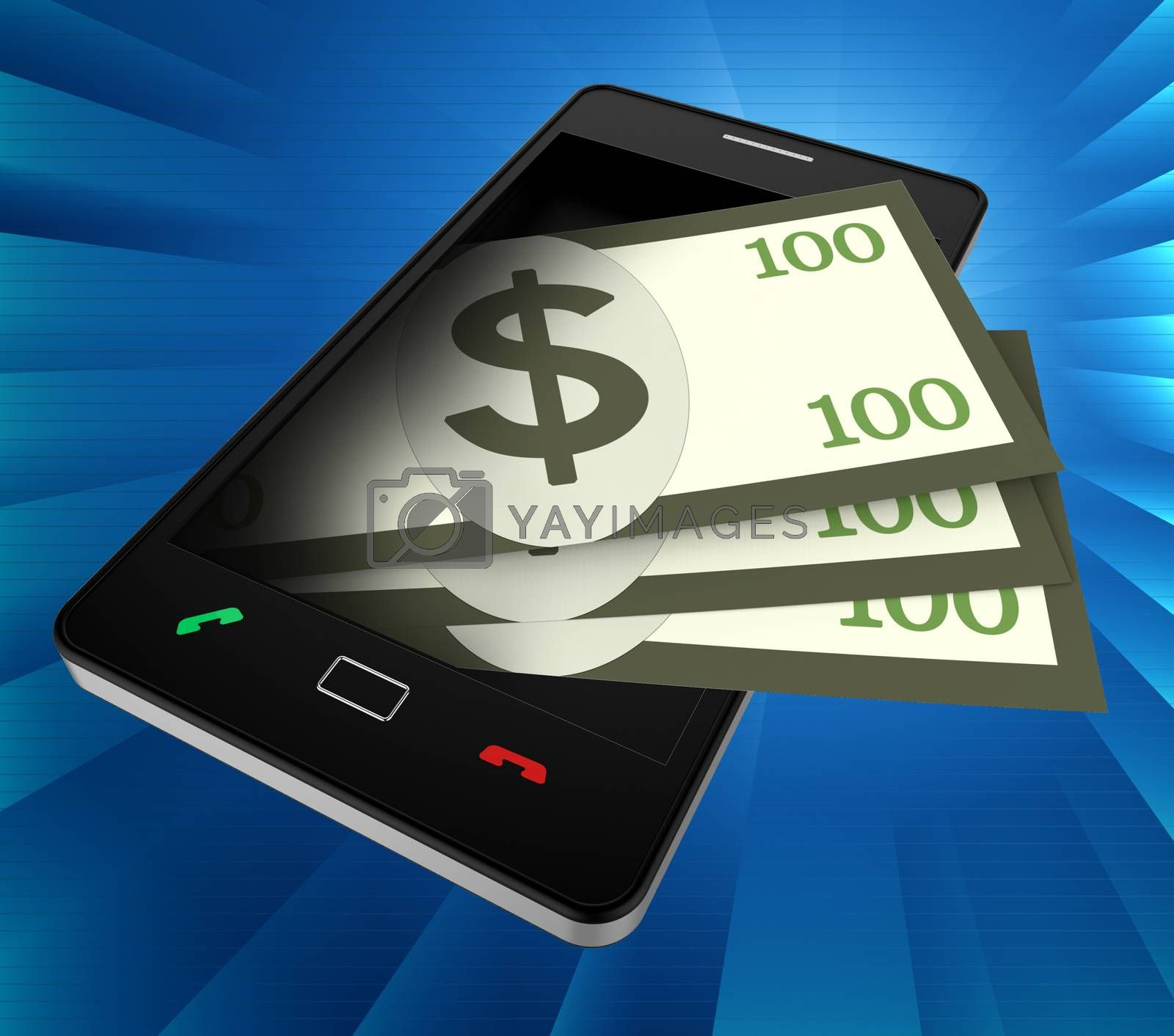 Phone Dollars Indicates World Wide Web And Banking by stuartmiles