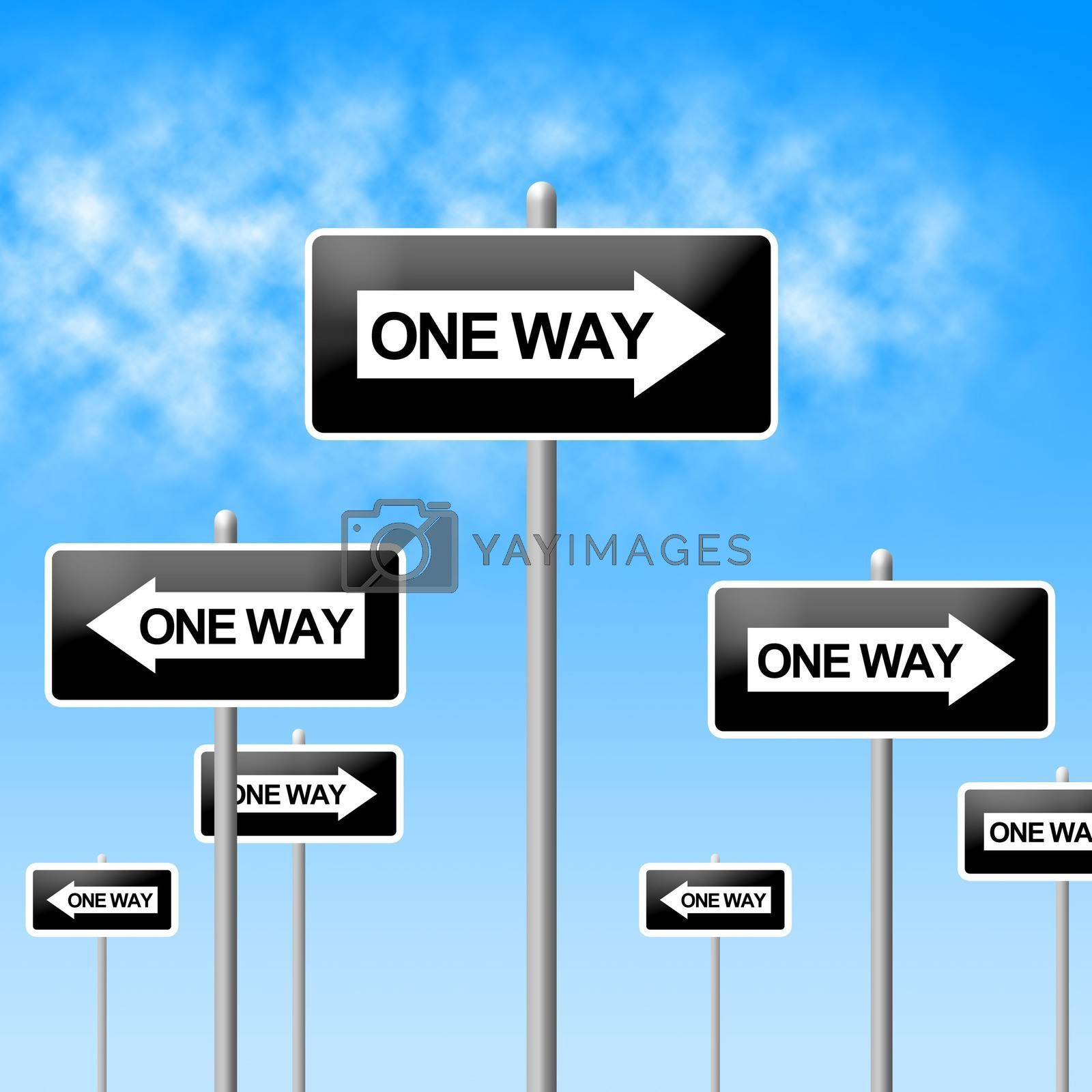 One Way Sign Represents Signage Decisions And Option by stuartmiles