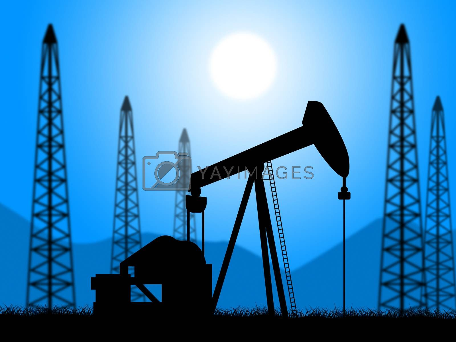 Oil Wells Represents Power Source And Drill by stuartmiles