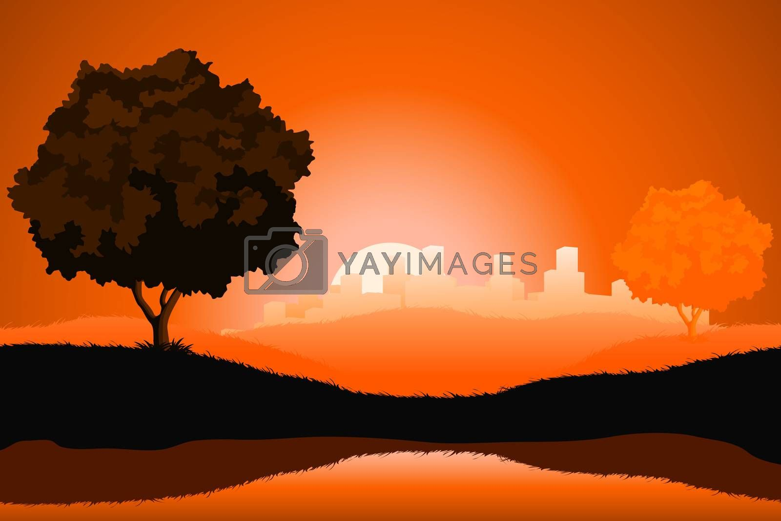 Amazing natural sunrise landscape with tree silhouette and citys by WaD