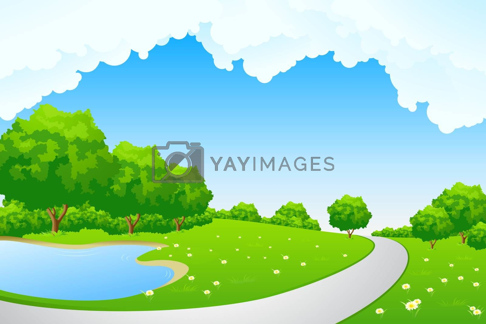 Landscape - green hill with tree lake and cloudscape by WaD