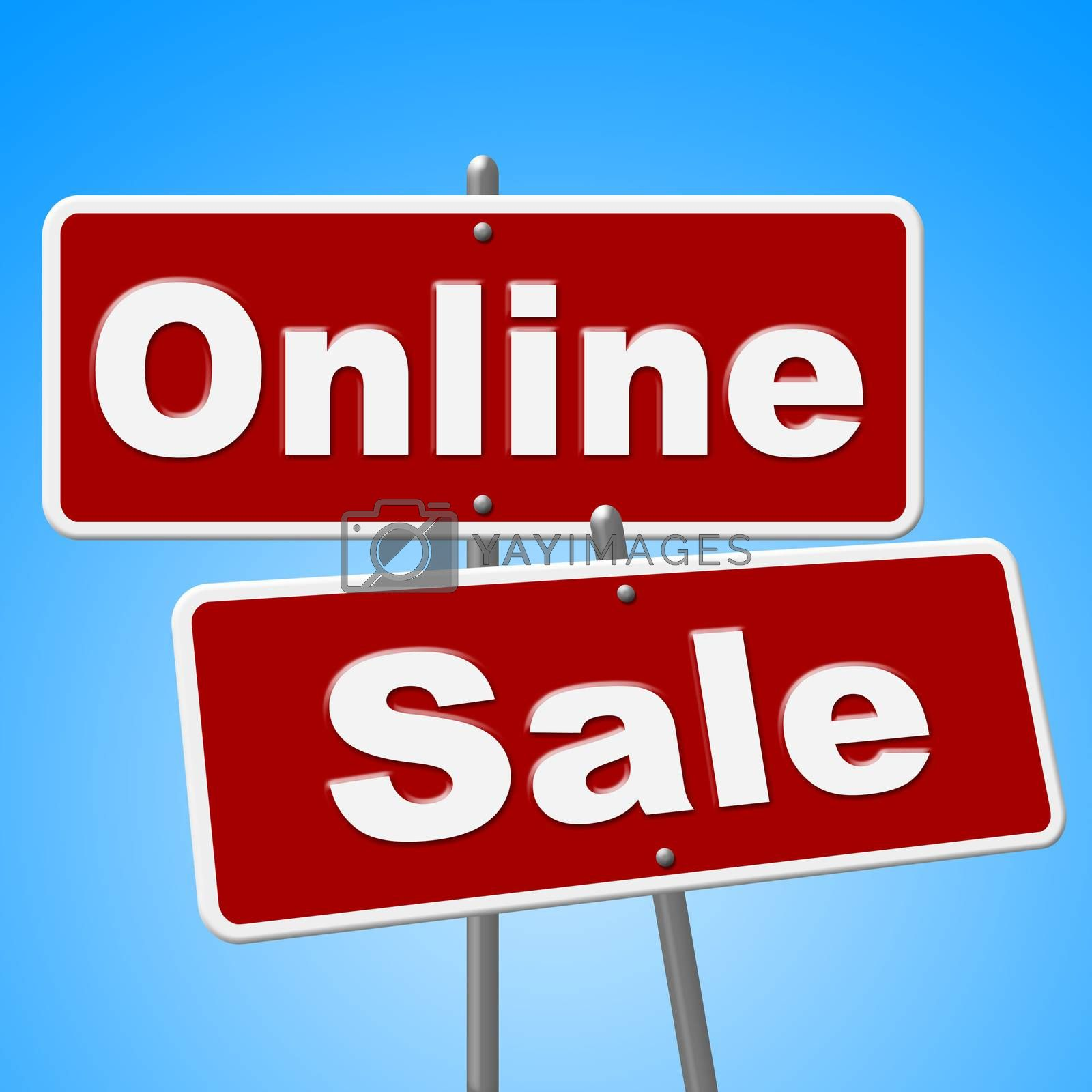 Online Sale Signs Shows Web Site And Retail by stuartmiles