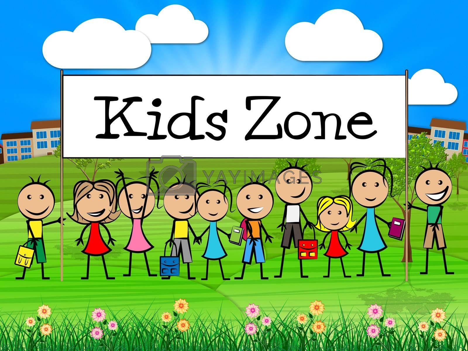 Kids Zone Banner Shows Free Time And Child by stuartmiles