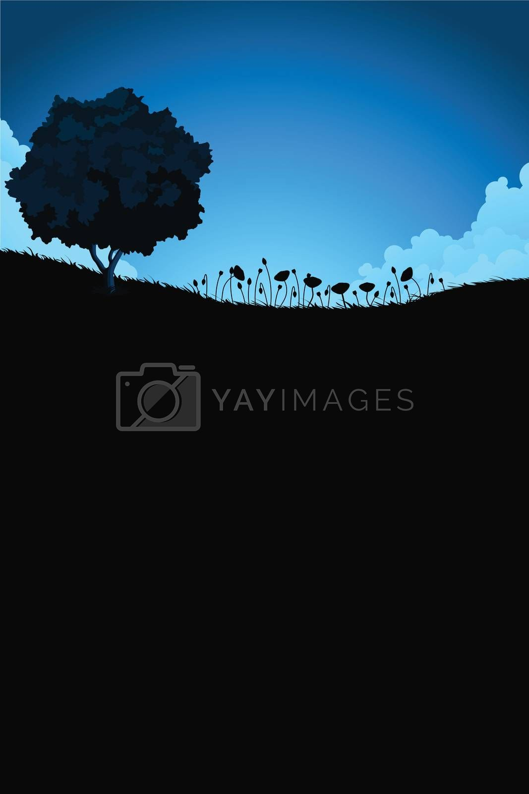 Vertical Nature landscape with tree and flowers by WaD