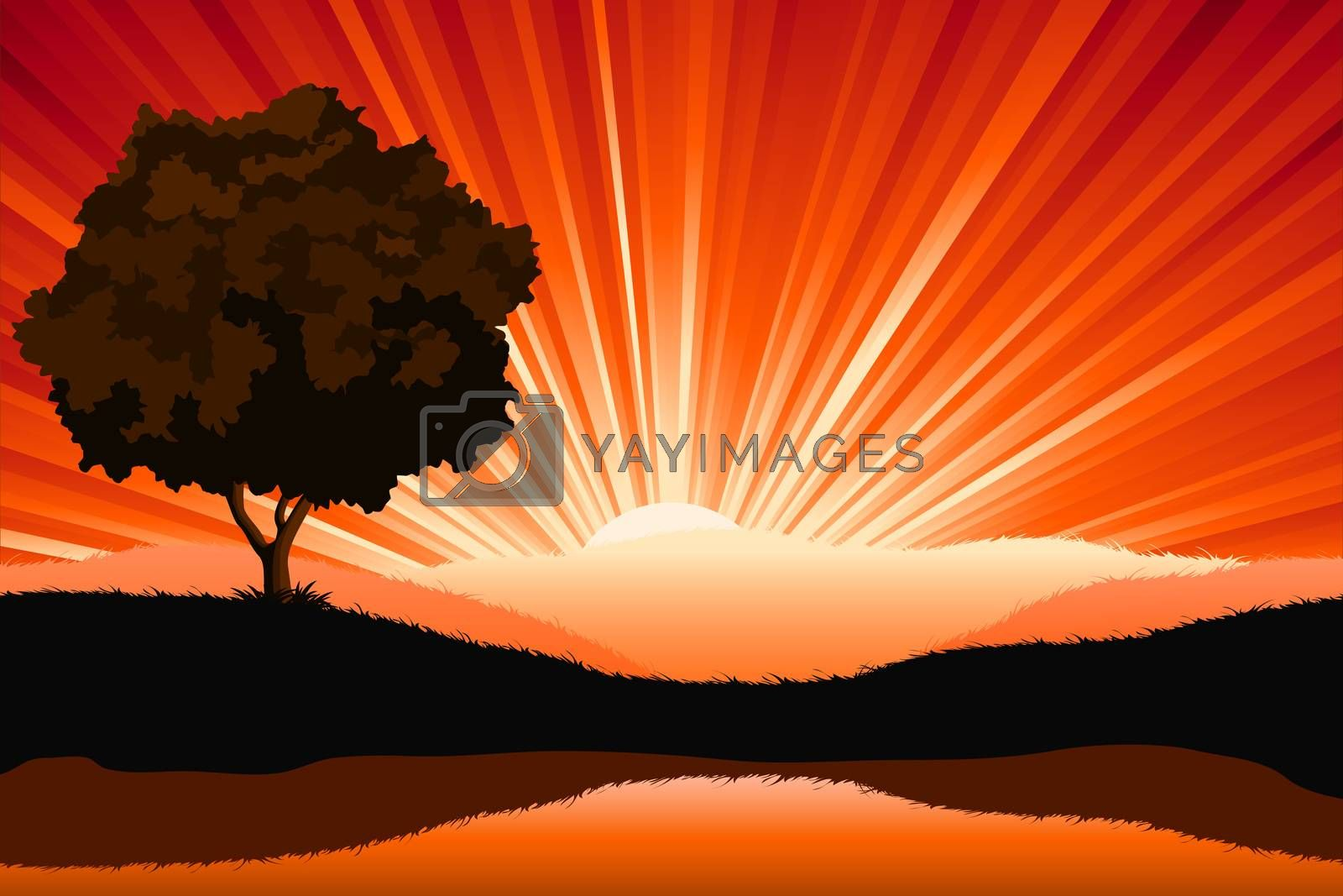Amazing natural sunrise landscape with tree silhouette, vector i by WaD