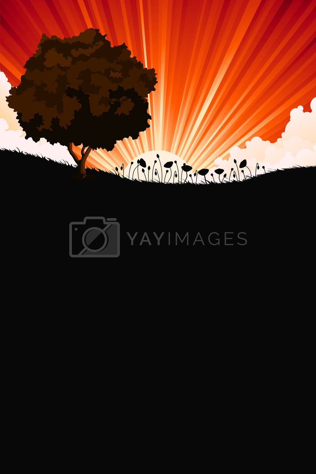 Nature sunrize landscape with tree and flowers by WaD