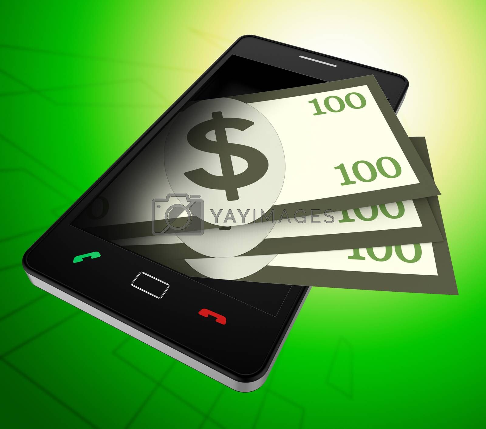 Phone Dollars Represents World Wide Web And American by stuartmiles