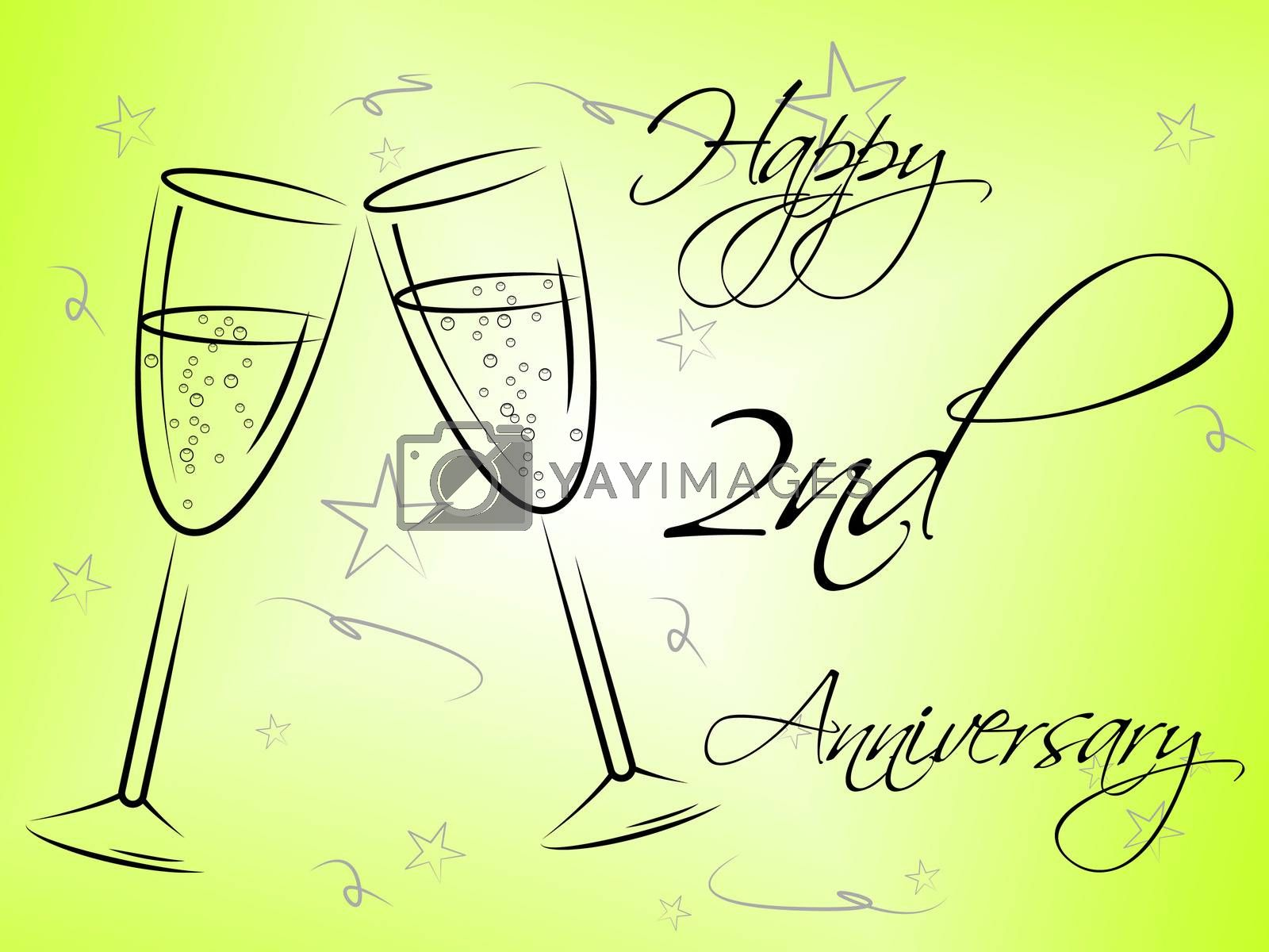 Happy Second Anniversary Shows Greeting Marriage And Salutation by stuartmiles