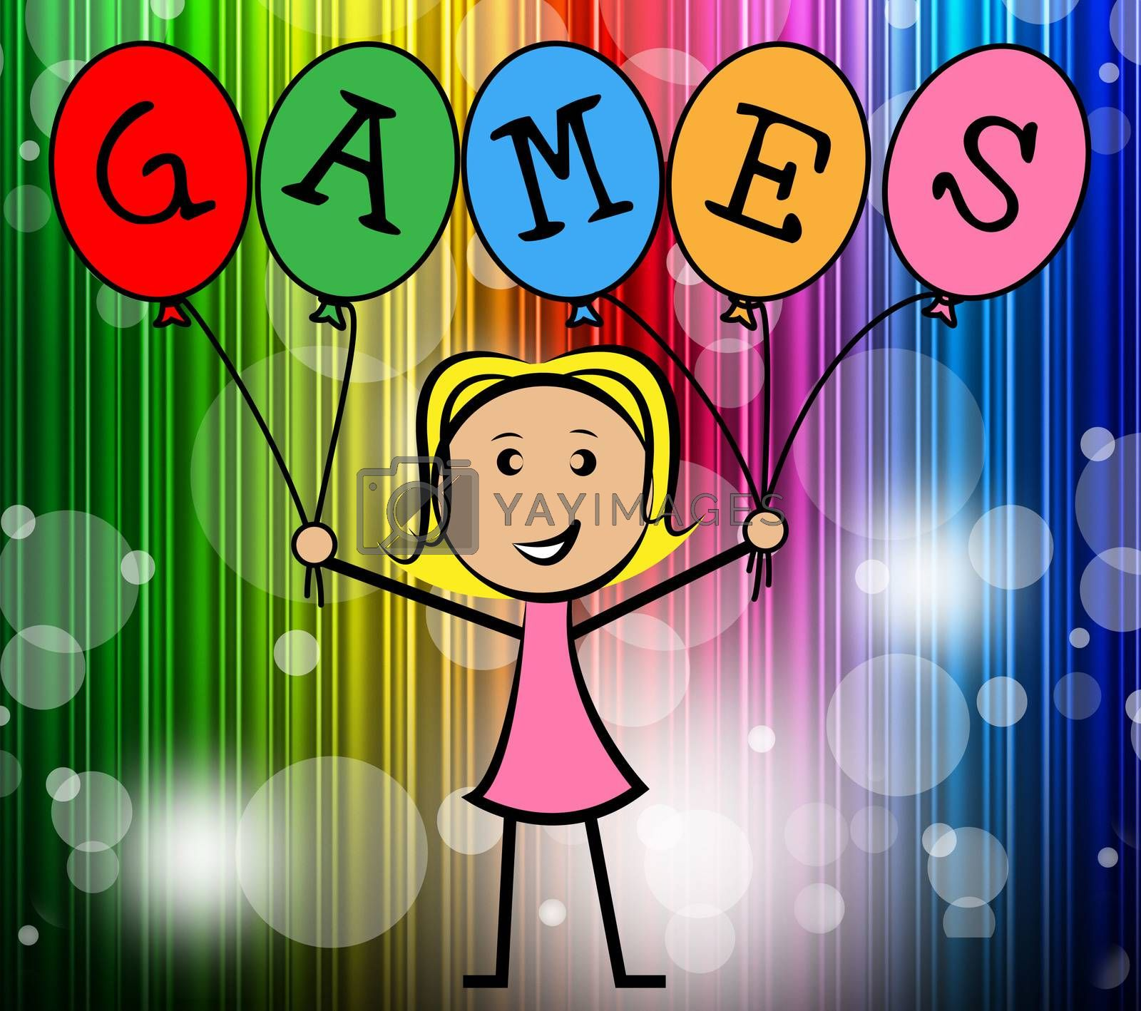 Games Balloons Represents Young Woman And Bunch by stuartmiles
