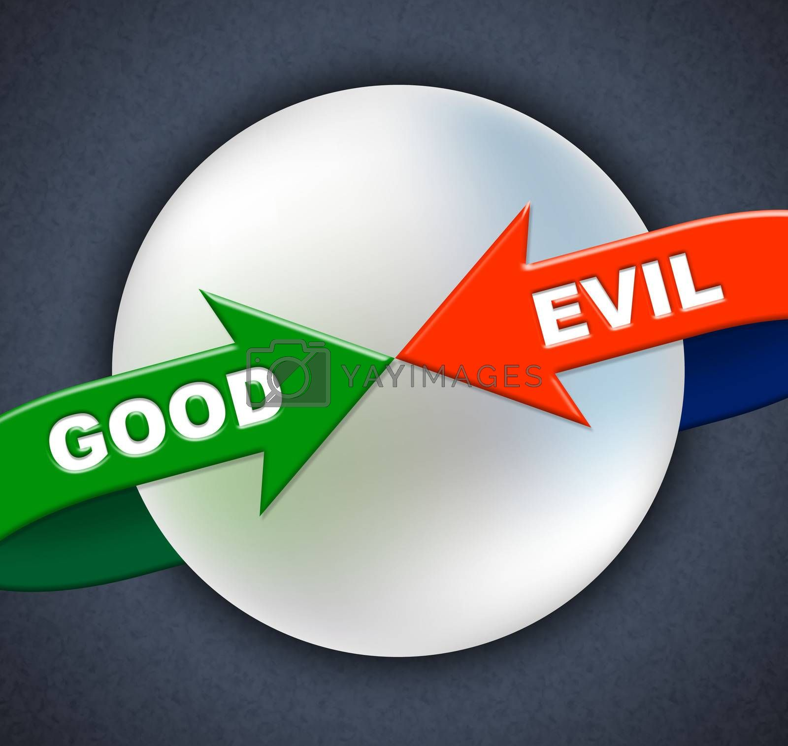 Good Evil Arrows Indicates All Right And Awesome by stuartmiles
