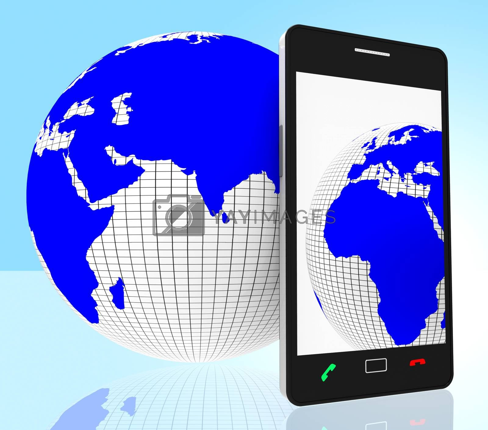 World Phone Indicates Web Site And Cellphone by stuartmiles