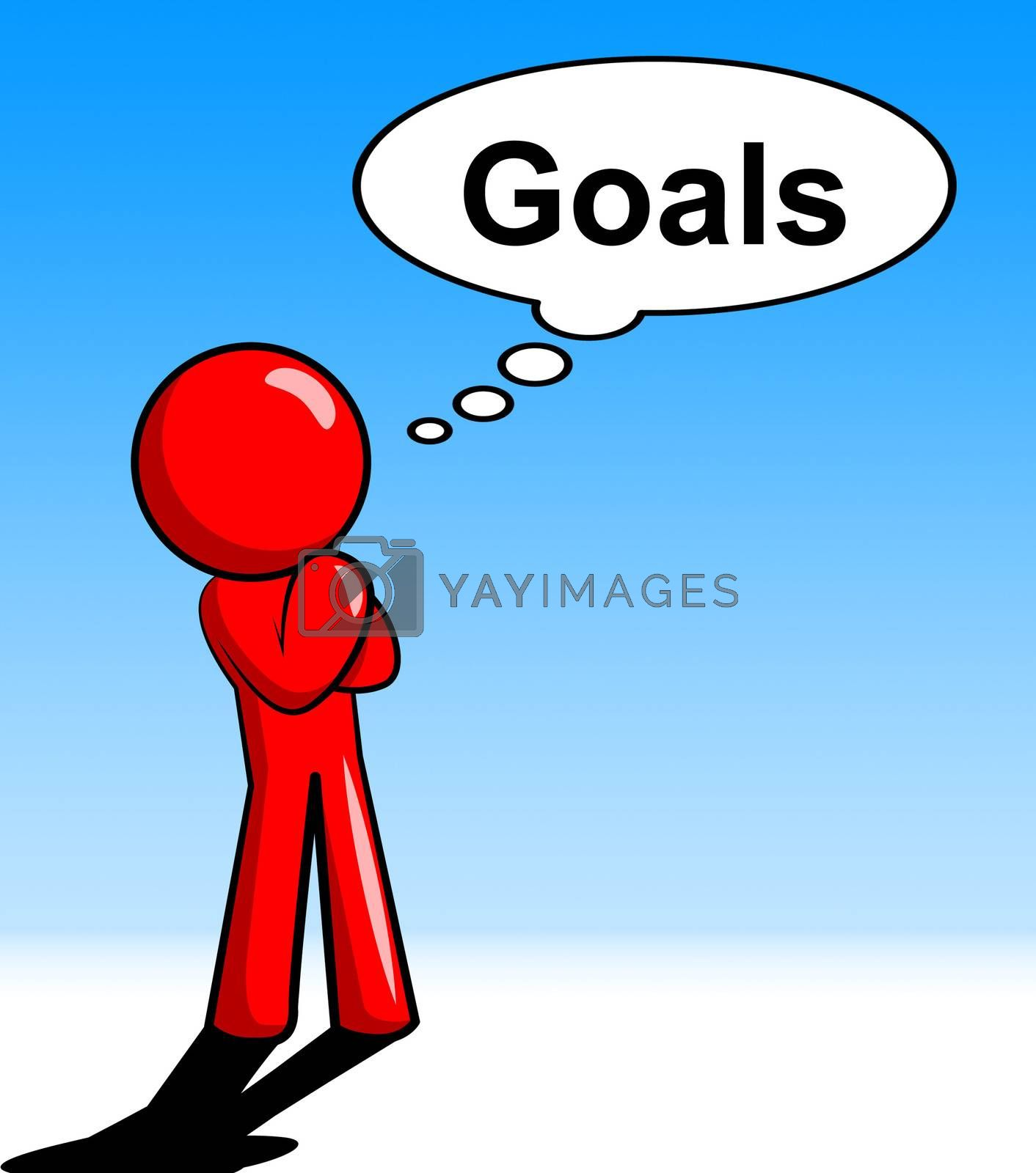 Thinking Goals Character Shows Aspiration Targets And Mission by stuartmiles