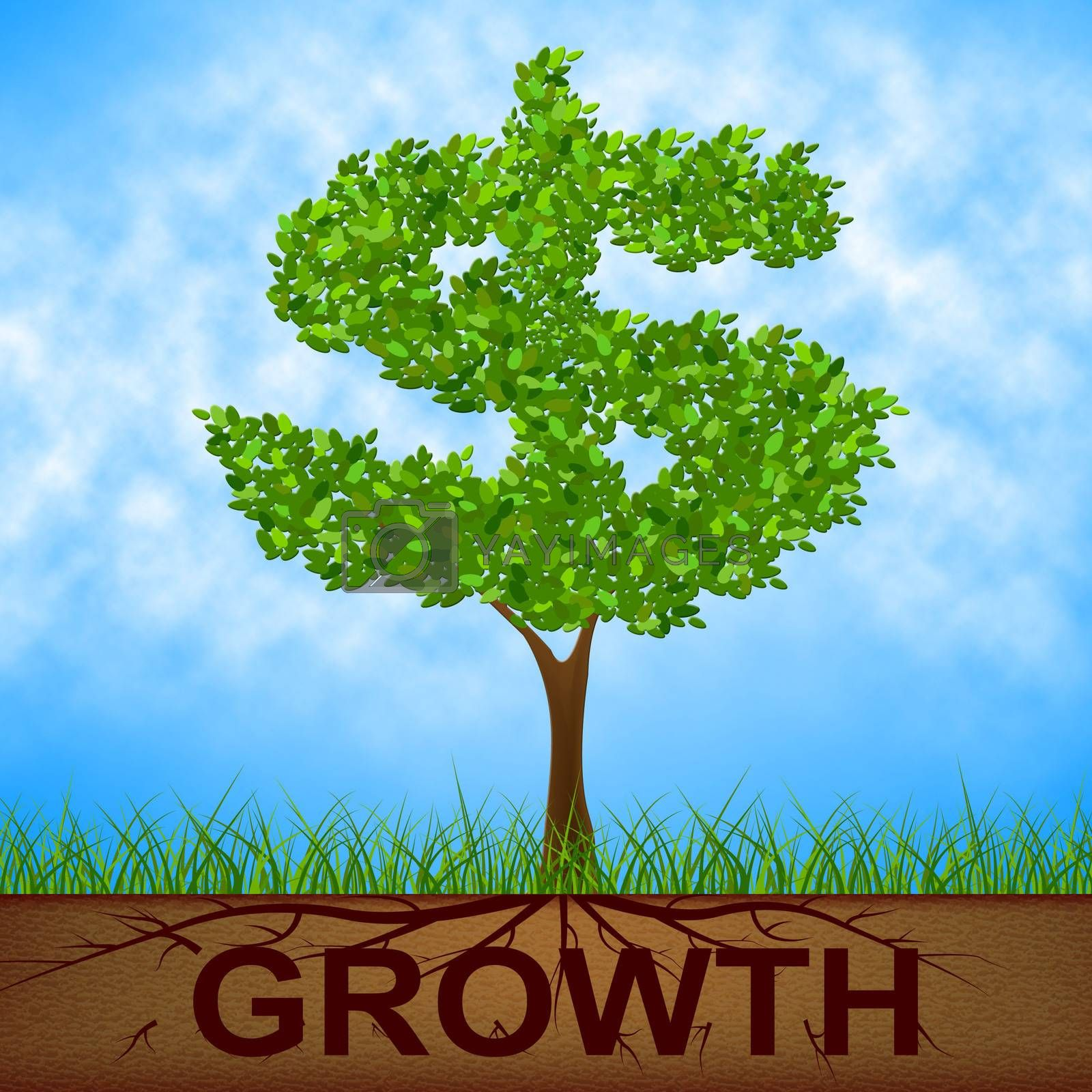 Growth Tree Means American Dollars And Banking by stuartmiles
