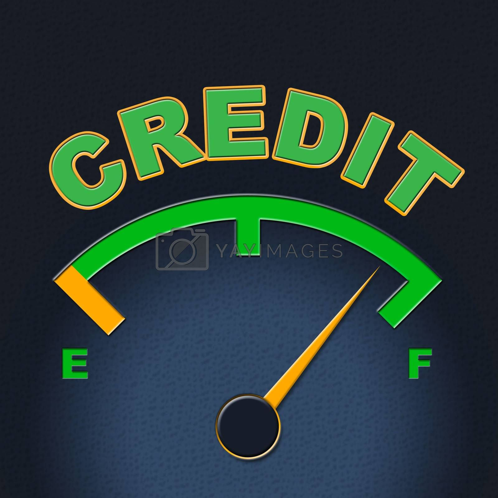 Credit Gauge Represents Debit Card And Bankcard by stuartmiles