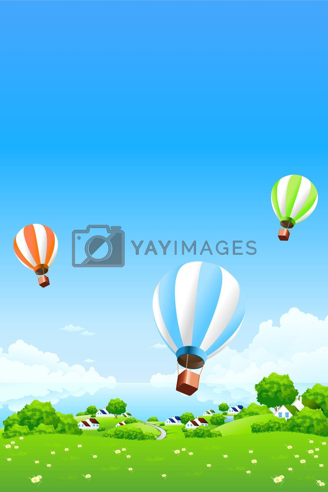 Green Landscape with Hot Air Balloons by WaD