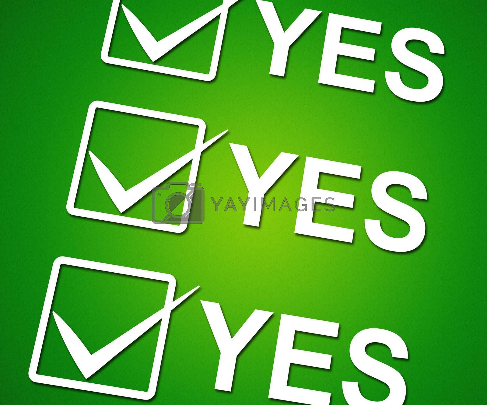 Yes Ticks Indicates Correct Ok And Agreement by stuartmiles