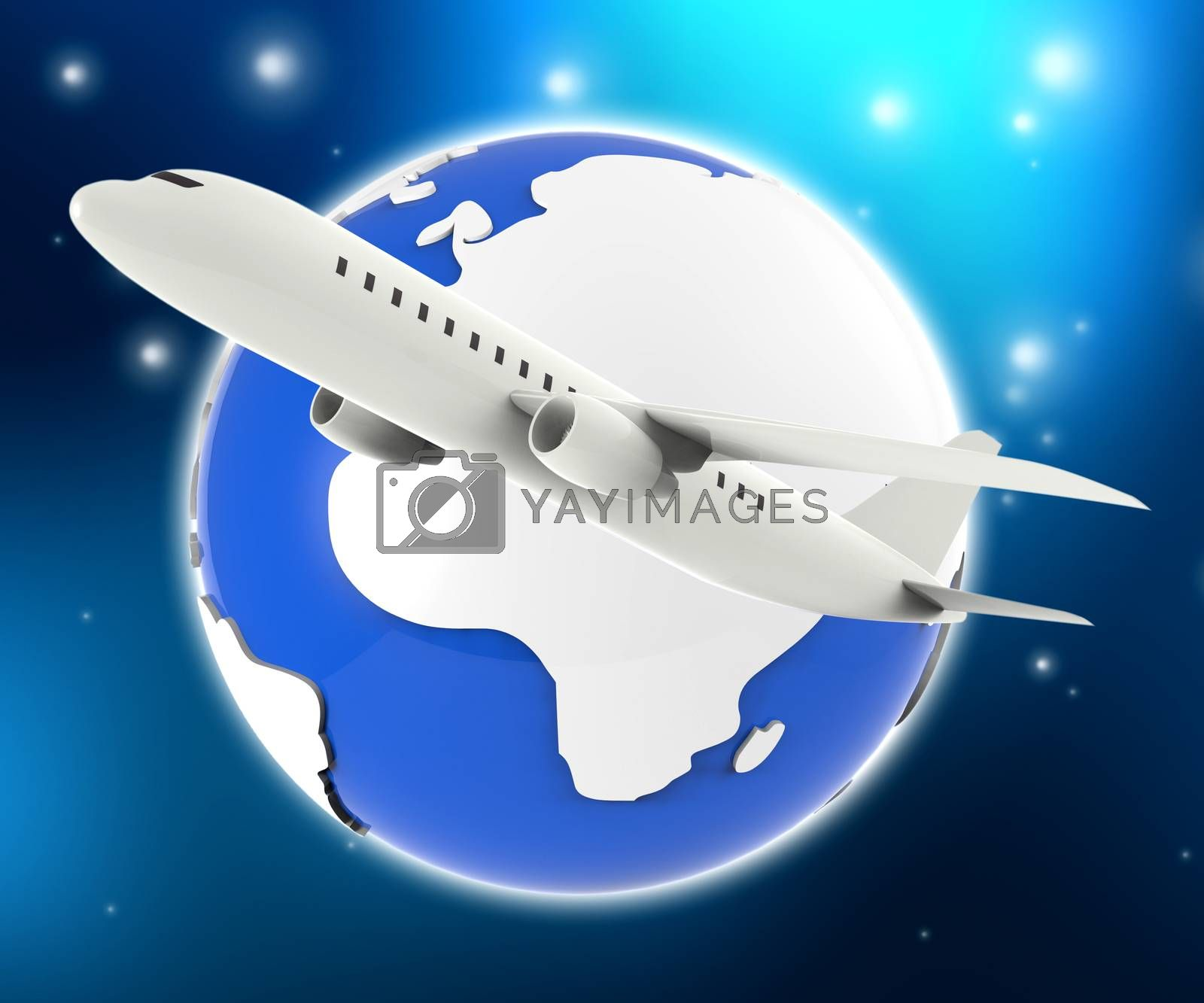 World Plane Represents Travel Guide And Air by stuartmiles