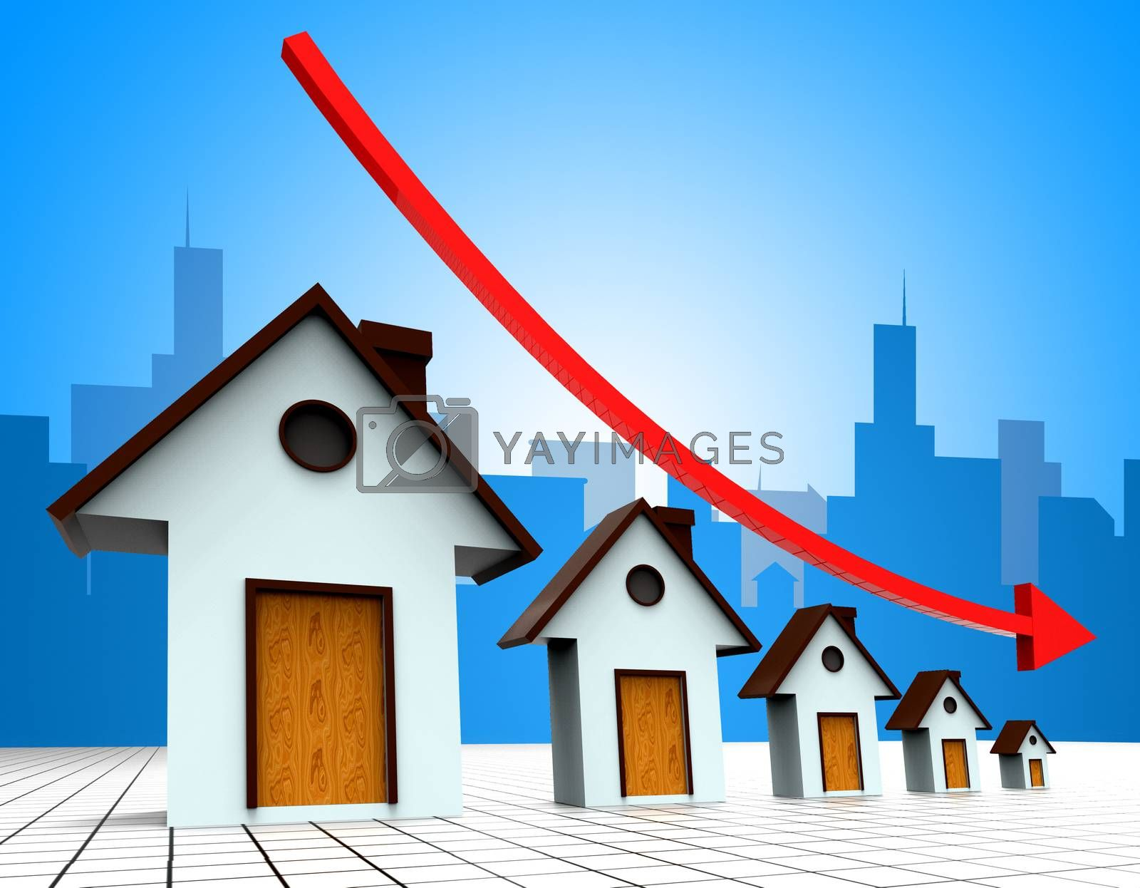 House Prices Down Represents Reduce Regresses And Household by stuartmiles
