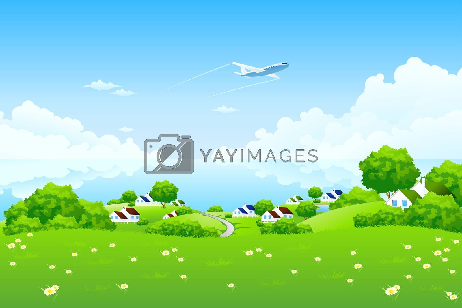 Green Landscape with aircraft by WaD