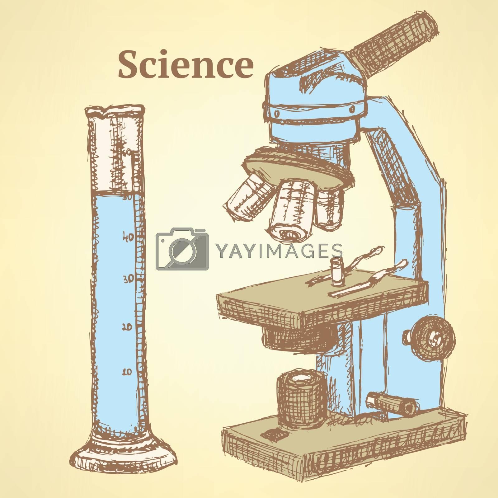 Sketch scientific set in vintage style by KaLi