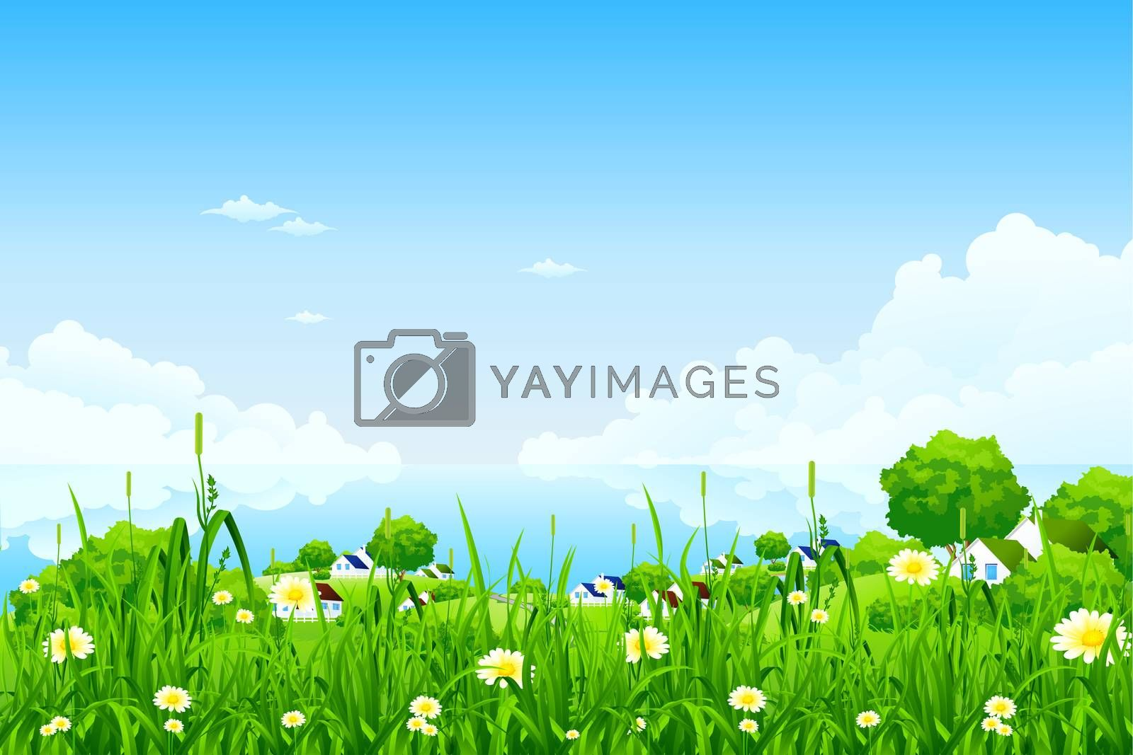 Green Landscape with clouds by WaD