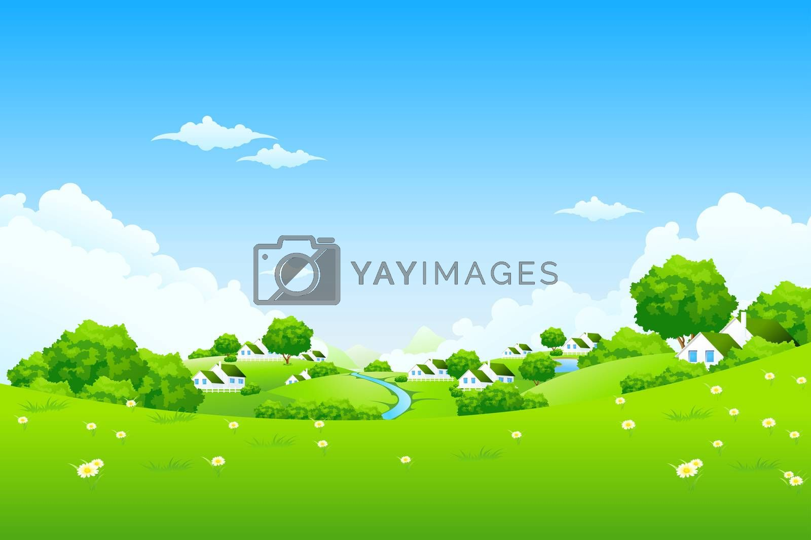 Green Landscape with houses by WaD