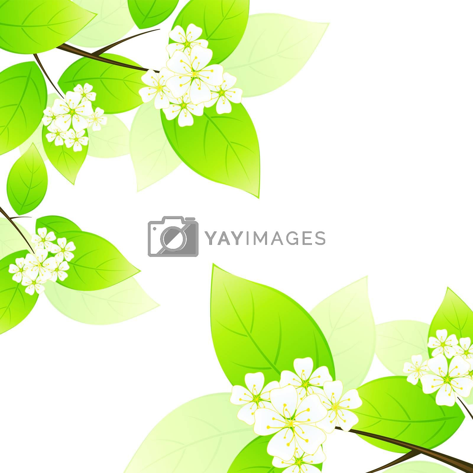 Green leaves and flowers by WaD