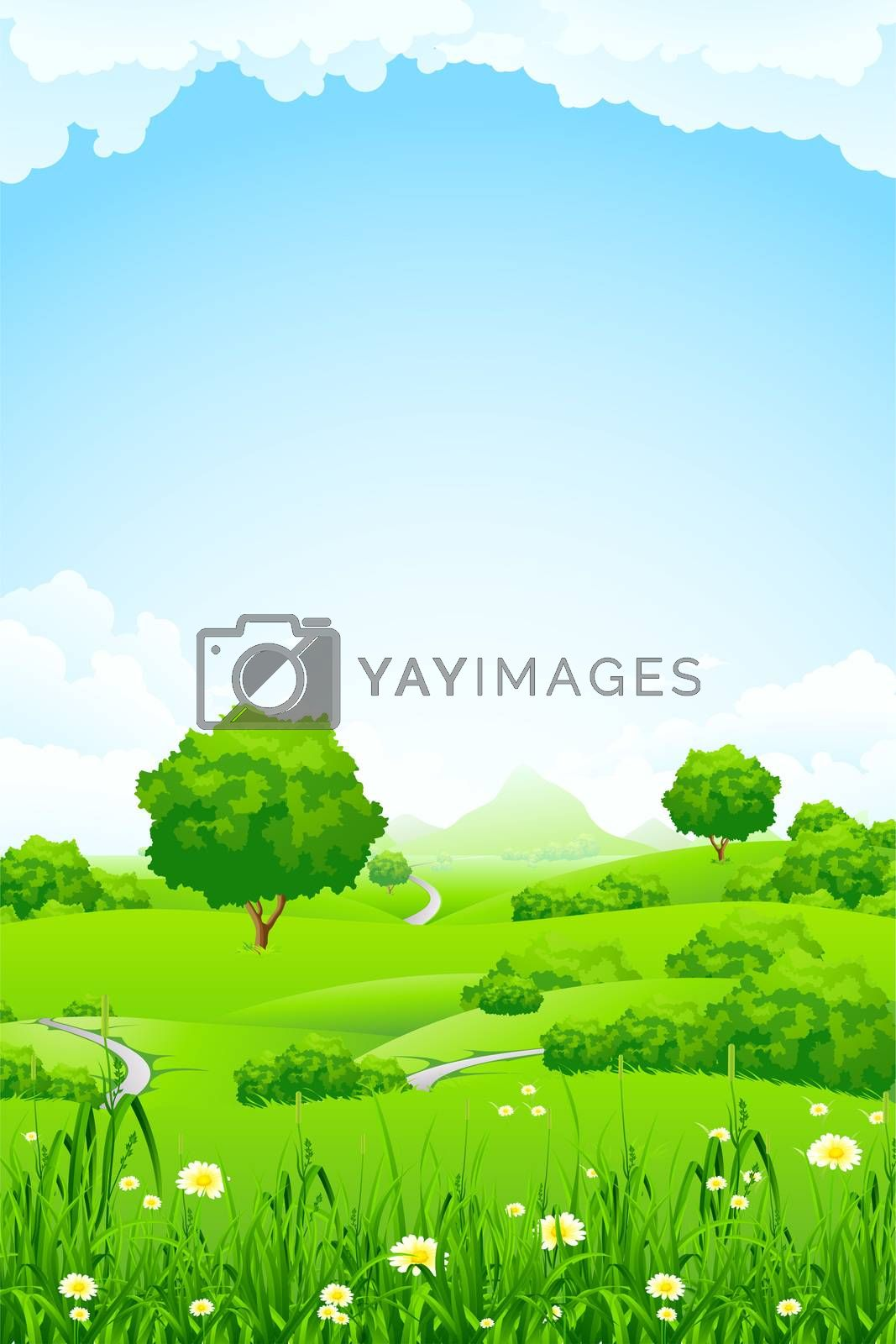 Green Landscape with trees and mountain by WaD