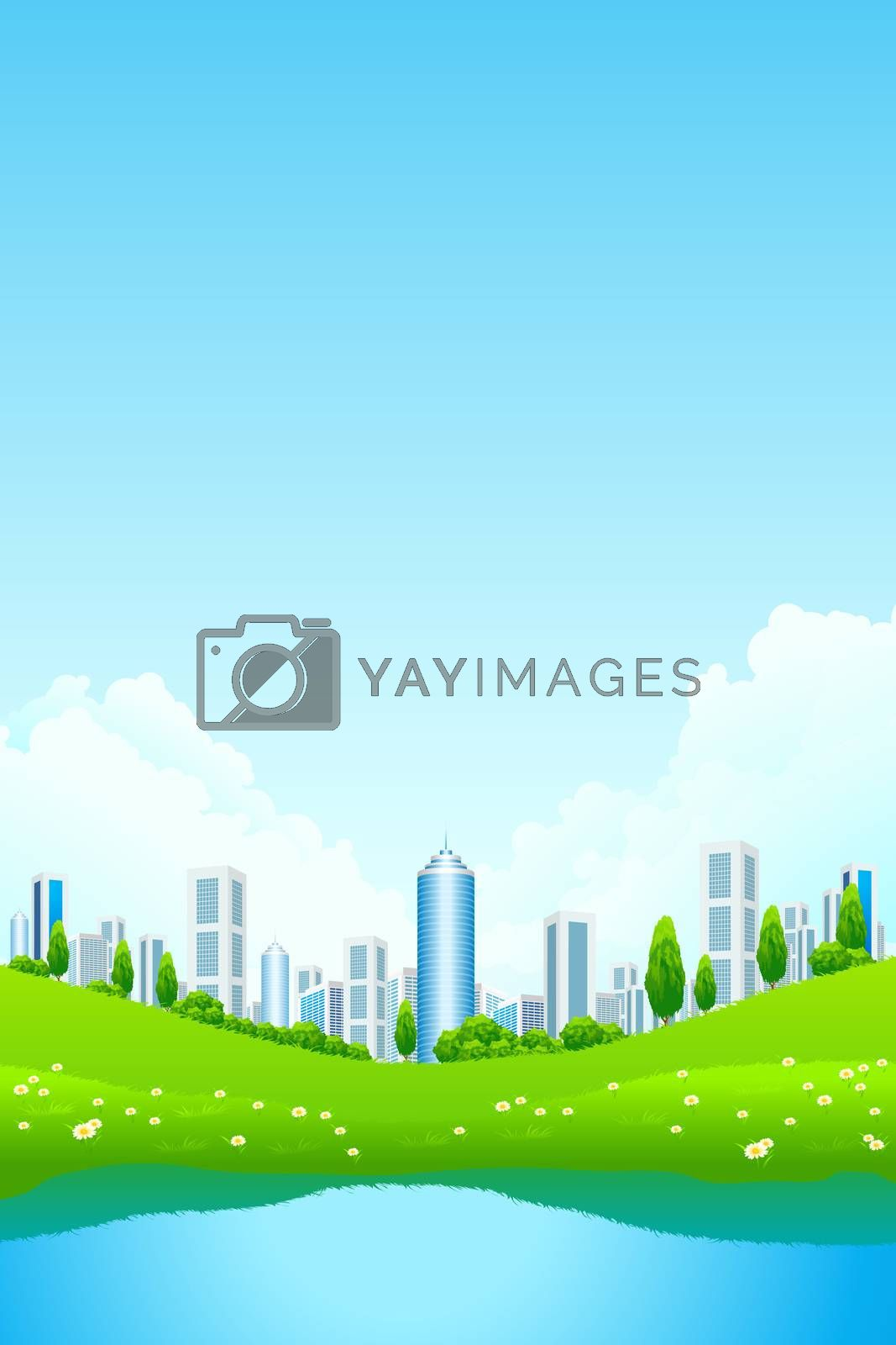 Green landscape with city and lake by WaD