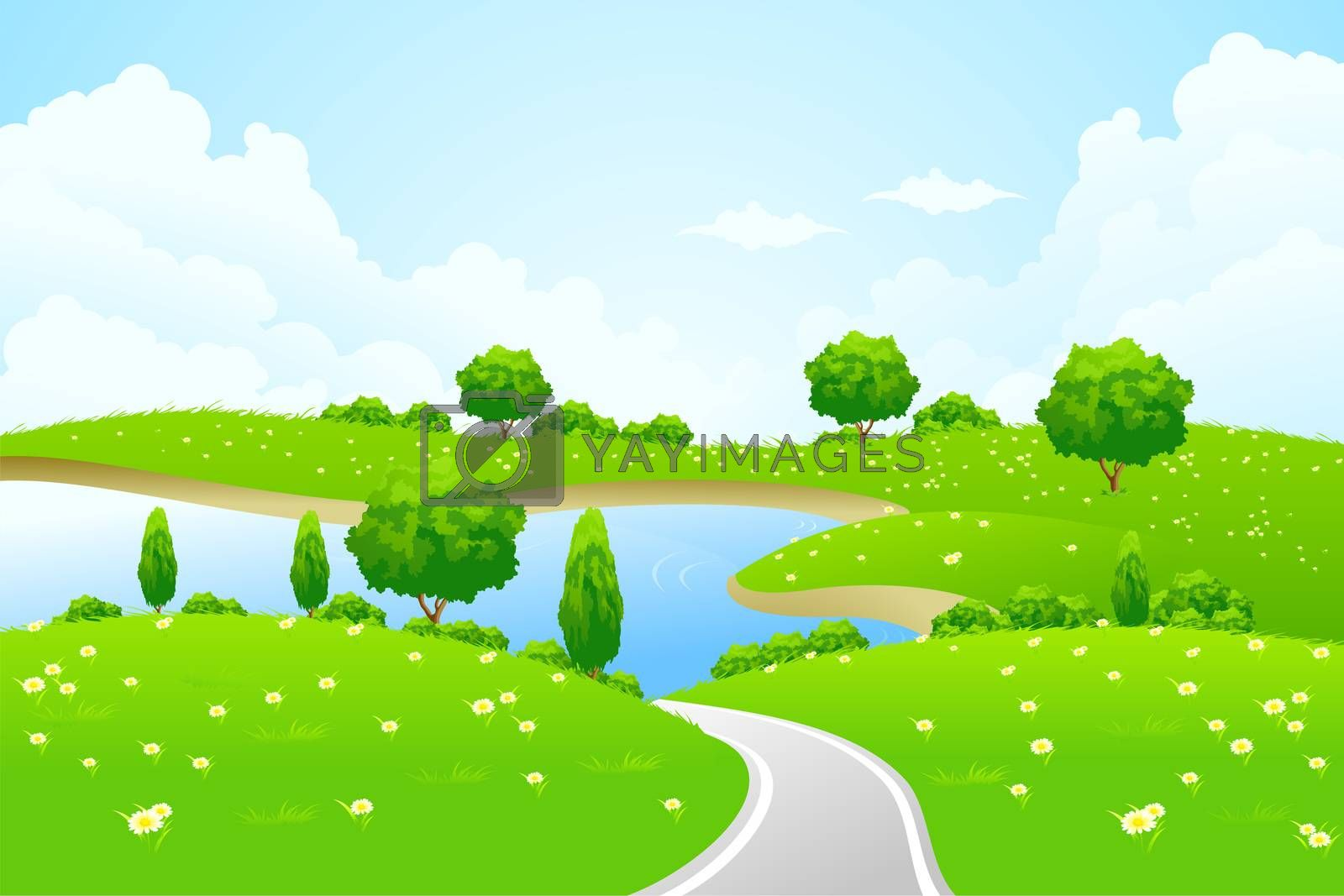 Green Landscape with lake tree road and flowers by WaD