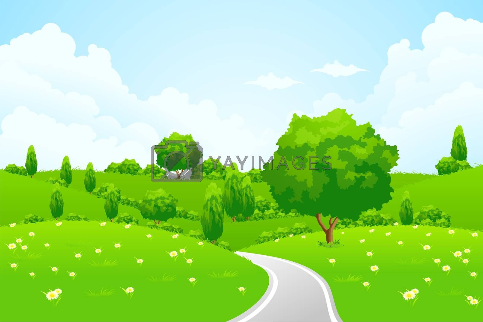 Green Landscape with hill tree road and flowers by WaD