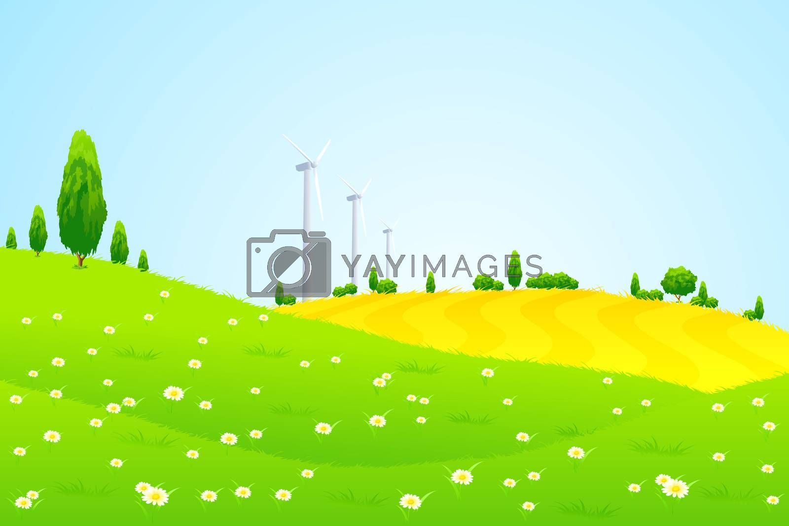 Green Landscape with Wind Power Station Trees and Flowers by WaD