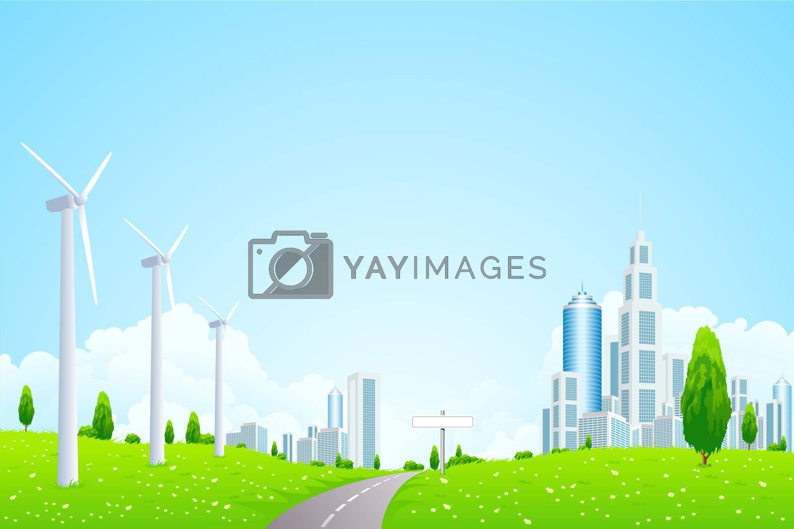 Green Landscape with Wind Power Station Road and Modern City by WaD