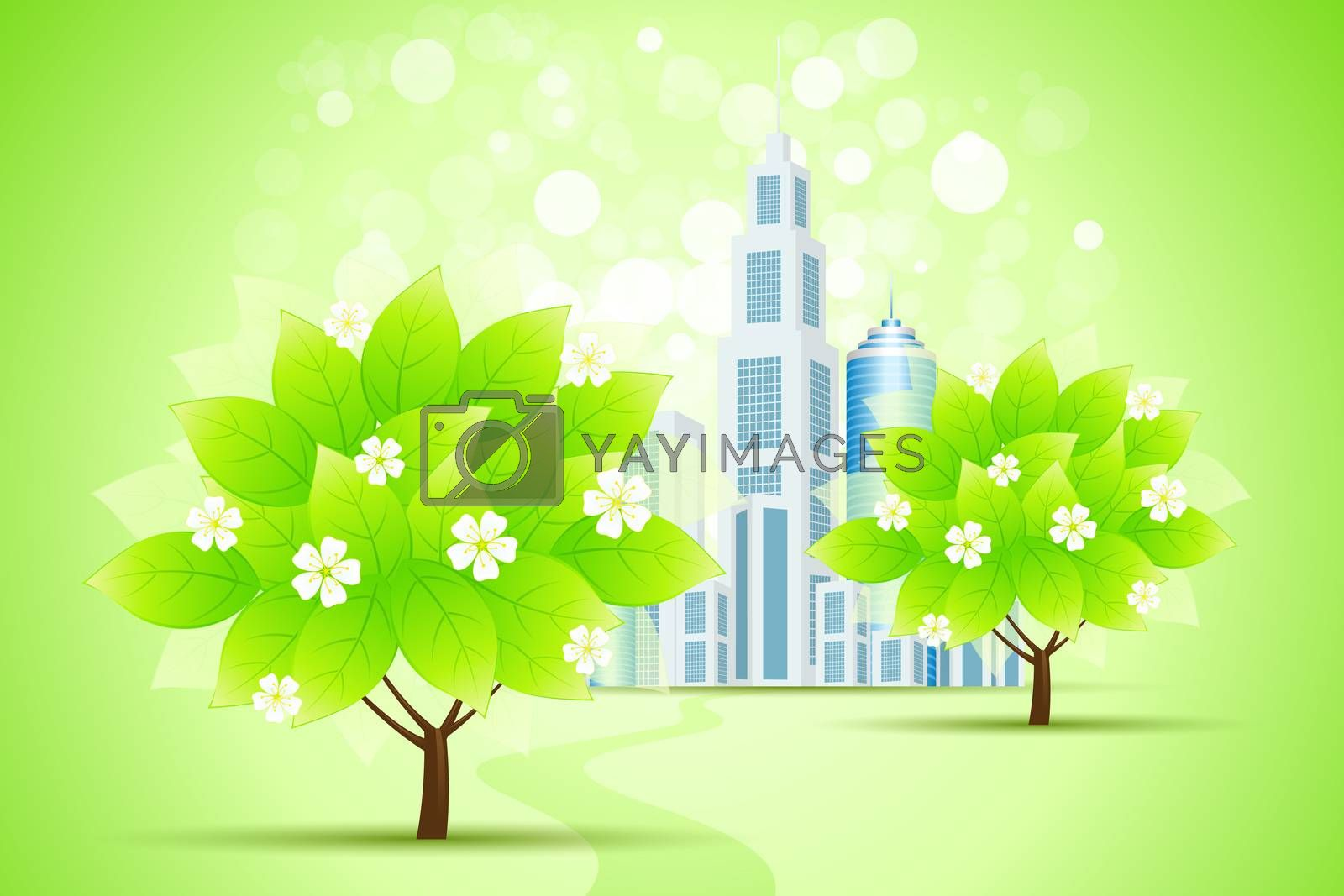 Green Trees and City by WaD