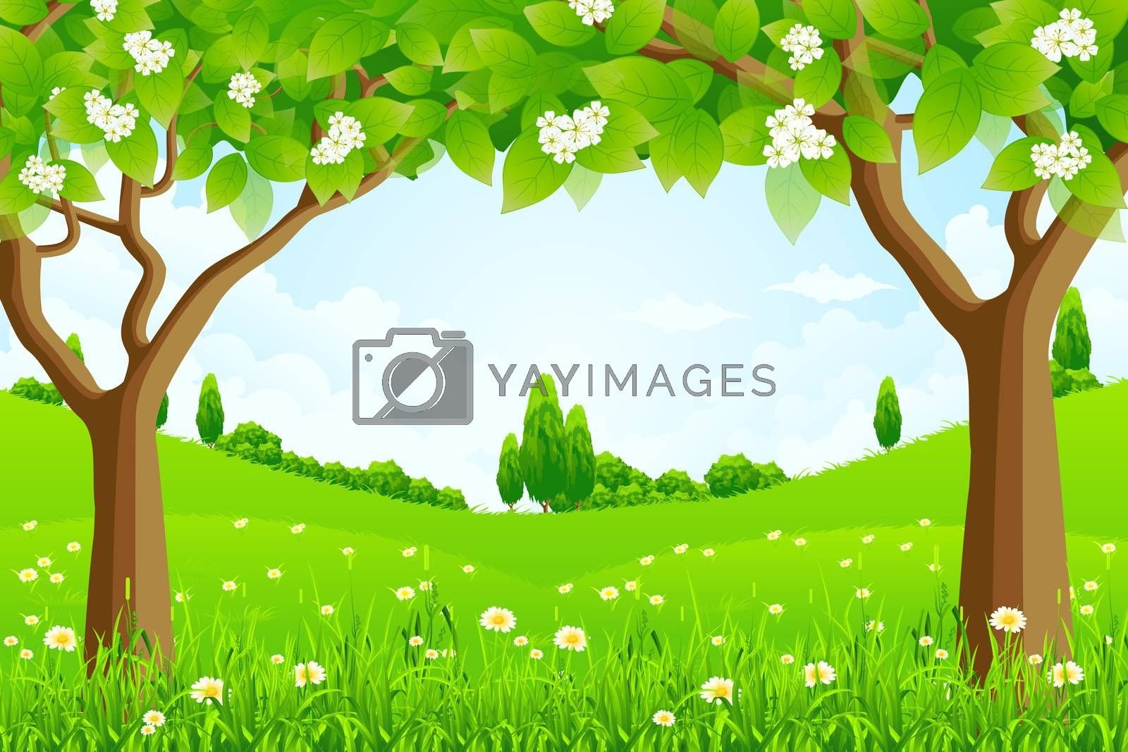 Green Background with Trees by WaD