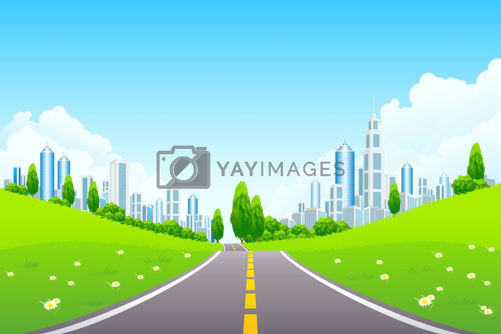 City Landscape with Trees and Road by WaD